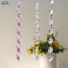 hbl Charm AB 14mm Glass Crystal Beads Lamp Chain Garland Chandelier Prism Octagon Beads Chain Craft Jewelry Home Decoration