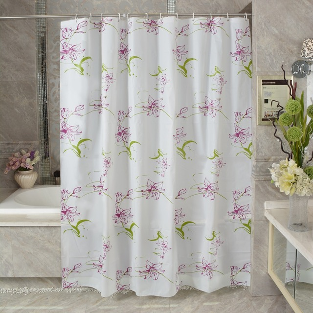 New PEVA Shower Curtain Purple Lily Bathroom Toilet Partition Curtain  Waterproof Mouldproof