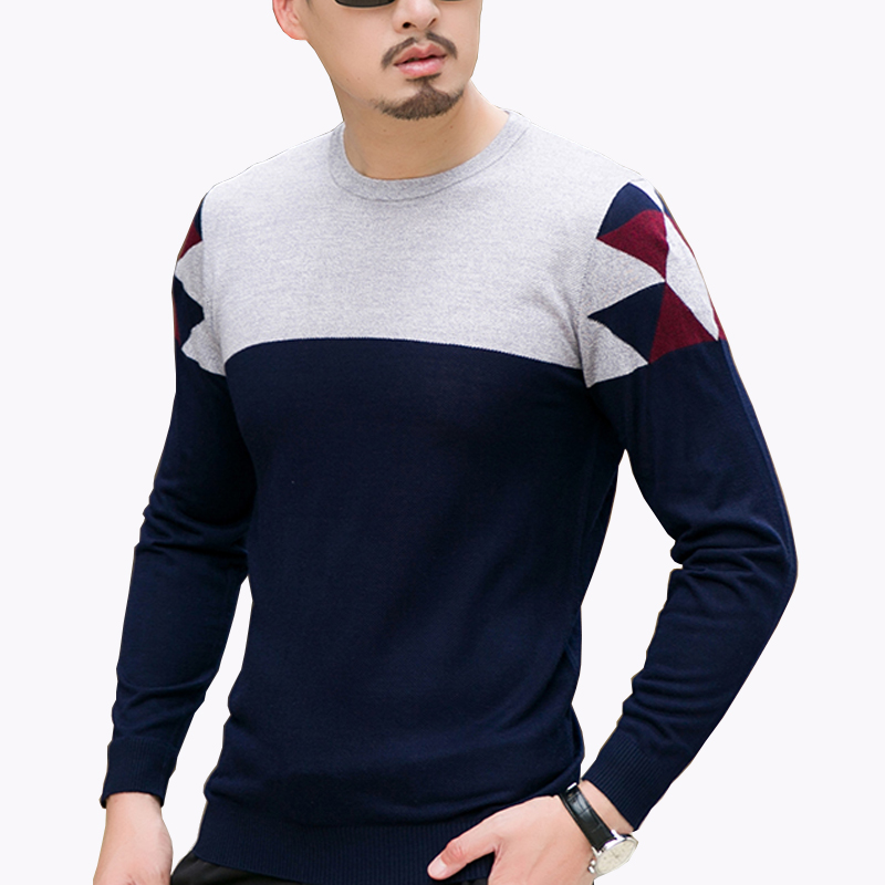 2017 New Autumn Fashion Men's Sweater Casual Color Block O Neck Sweater Mens Clothes Trend High Quality Mens Knitted Sweater 8XL