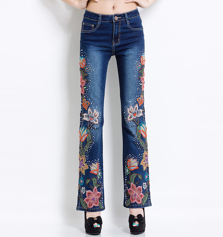 Women Embroidered Beaded Jeans Rhinestone Bell Bottom Flared Pants Elasticity Luxury Sexy Ladies High Waist Push Up Female Jeans 15