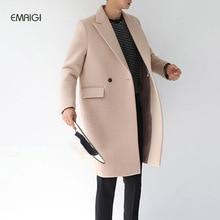 Осень зима шерстяное пальто хлопок padden сгущает шерстяные куртки корейский стиль мужчины долго ветровка куртки и пиджаки