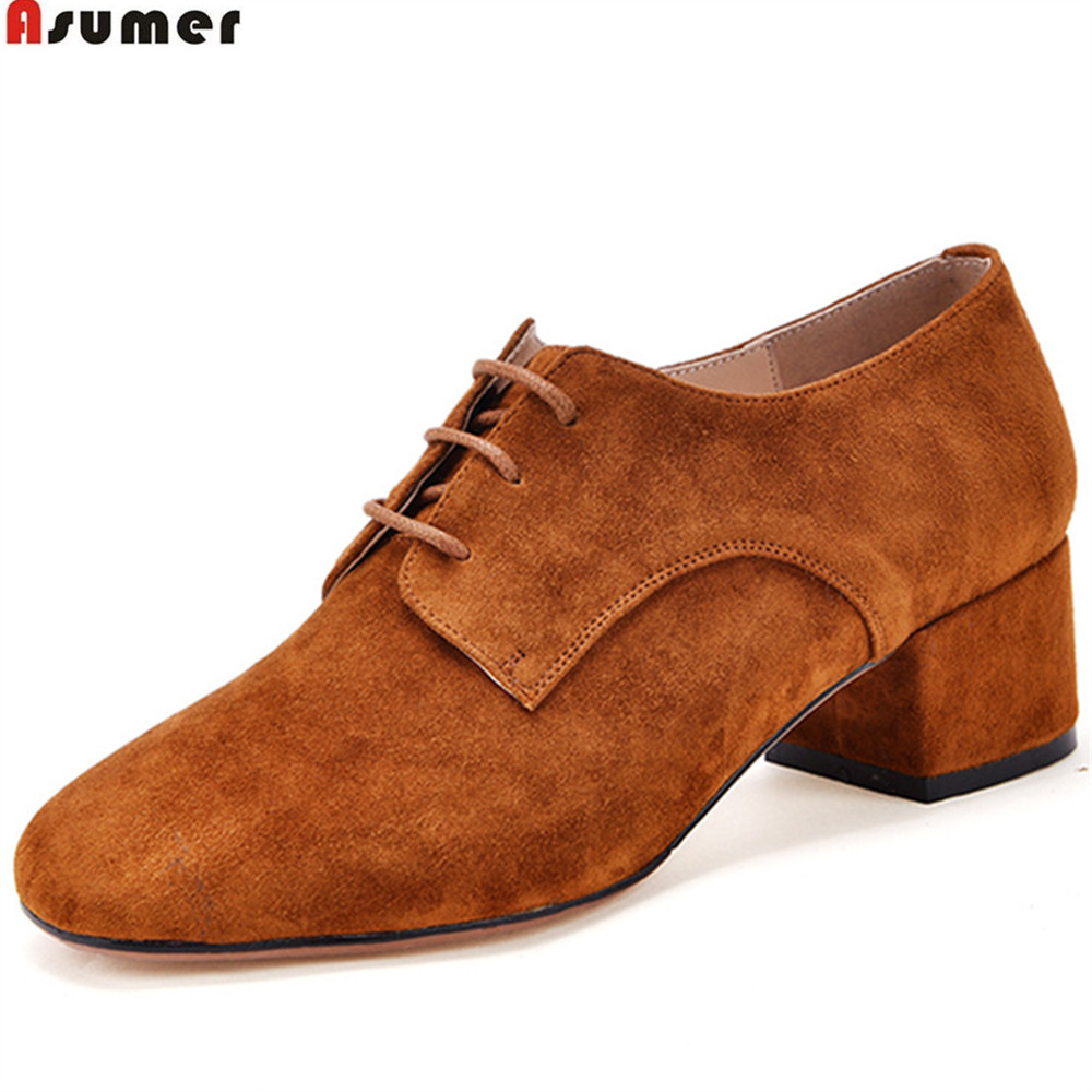ASUMER fashion square toe lace up spring auutmn new 2018 ladies shoes casual square heel women suede leather med heels shoes asumer black orange square toe shallow ladies pumps thick heel spring auutmn women suede leather high heels shoes big size 33 43