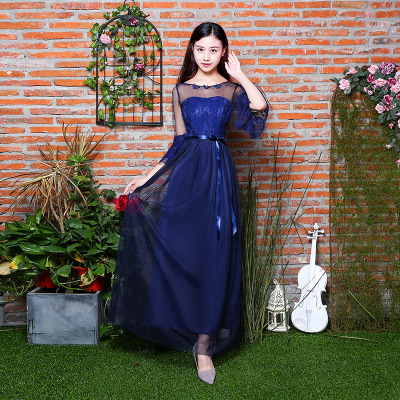 Sweet Memory Summer Champagne pink dark blue Bridesmaid dress 7 Styles and 4  colors in stock Promotional Price SW0050 31-in Bridesmaid Dresses from  Weddings ... de7ff668a877