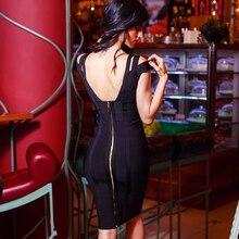 Deep V Knee Length Backless Prom Bodycon Dress