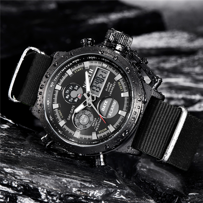 NORTH Sport Watch Men Military Quartz Watches For Men Analog LED Digital Leather Nylon Men Watches Casual Waterproof Wristwatch 3