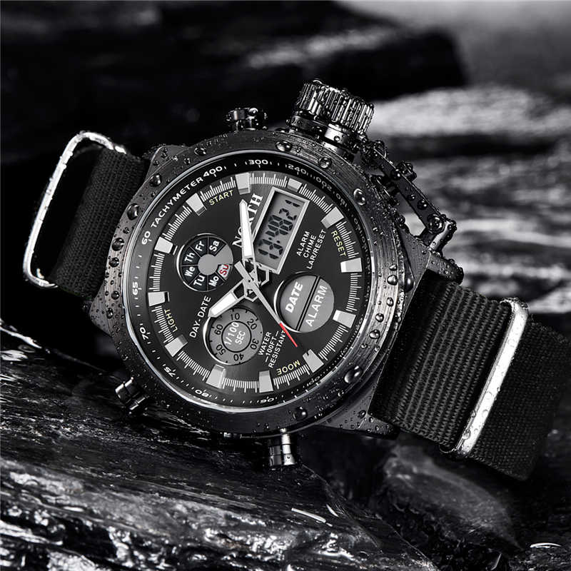 NORTH Sport Watch Men Military Quartz Watches For Men Analog LED Digital Leather Nylon Men Watches Casual Waterproof Wristwatch
