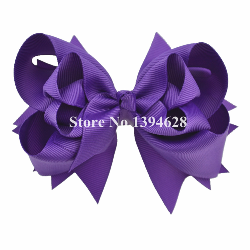 $1/1PCS 5 inches 3 Layers Solid Purple Baby Bows With 6cm Clips Boutique Ribbon Bows For Girls Hair Accessories