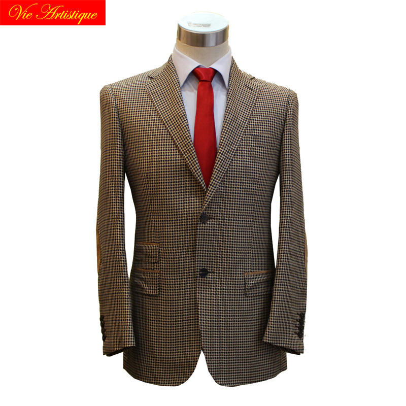 Custom Tailor Made Men's Bespoke Suits Business Formal Wedding Ware Bespoke 2 Piece Jacket Coat Pant Coffee Dog Tooth Wool Slim