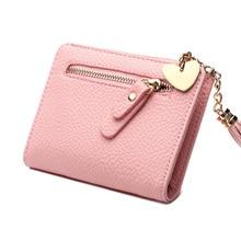 Women Wallet Female Leather Purse Short Zipper Tassel Small Wallet Card Holder Coins Purse Sweet Girl Clutch Money Pocket Casual