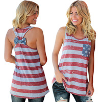 Summer Women Casual Loose Sleeveless American Flag Print Bow Tie O Neck Long Tee Shirt Racerback