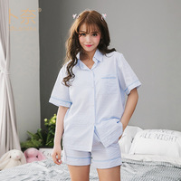 New Summer Blue White Striped Pajama Sets Women Casual Short Pyjamas Women Shorts Cotton Pyjamas Sets
