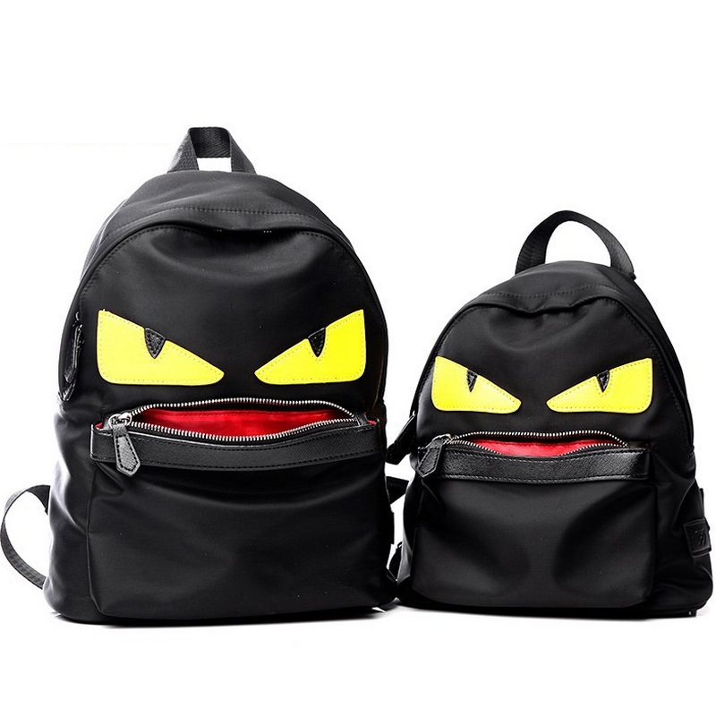 цены Demon Big Eyes Small Monster Fashion Backpack Monster Teenagers Girls Boys Nylon School Bags Cartoon Couple Bag Mochila Escolar
