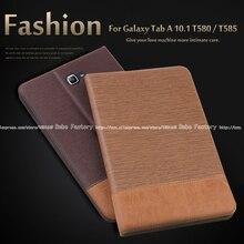 Alta calidad de LA PU funda de piel Para Samsung Galaxy Tab Un A6 10.1 2016 T585 T580N T580 tablet soporte de La Cubierta + Film + Stylus