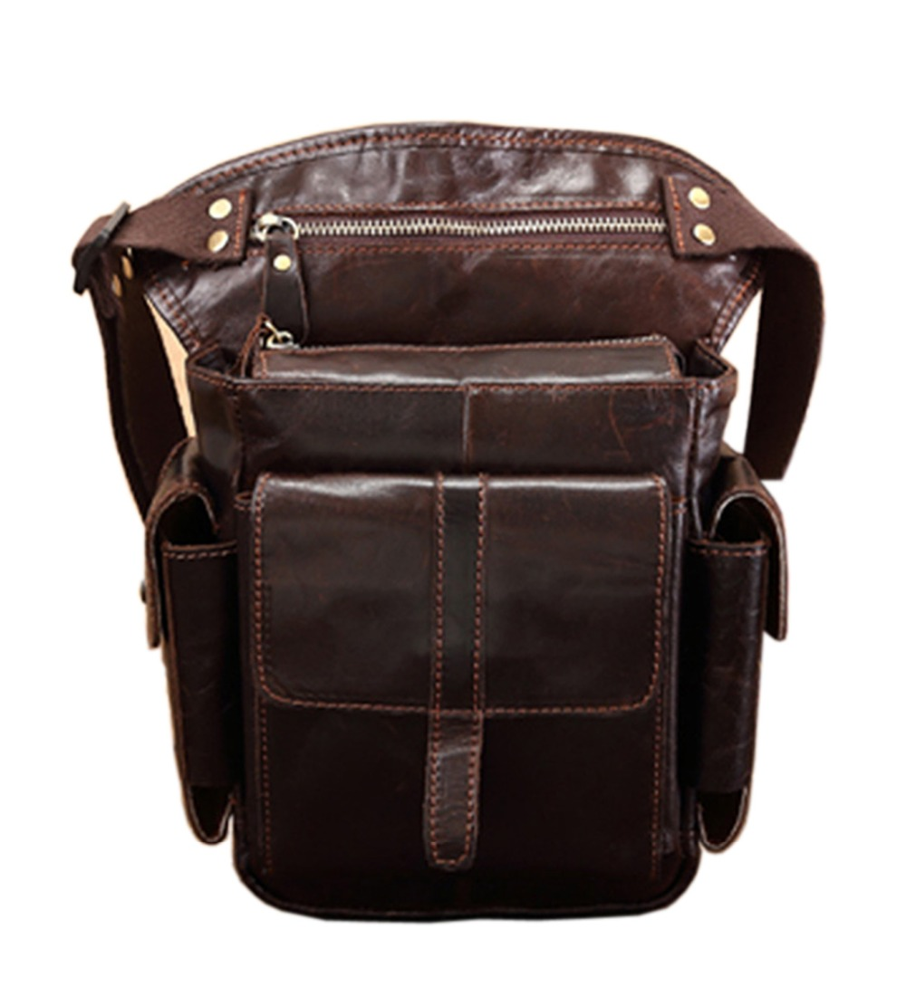 Men's Cowhide Oil Wax Genuine Leather Drop Leg Bag Thigh Hip Bum Belt Fanny Pack Waist Travel Motorcycle Casual Shoulder Bags цена