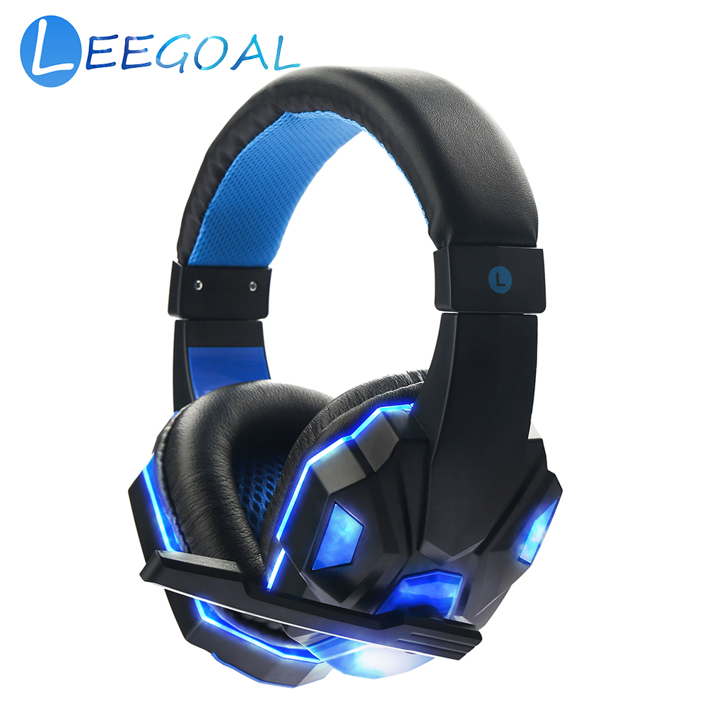 LED Wired Headphone Live Chat Gaming Headset with Microphone Adjustable Volume Headband for Laptop Tablet PC