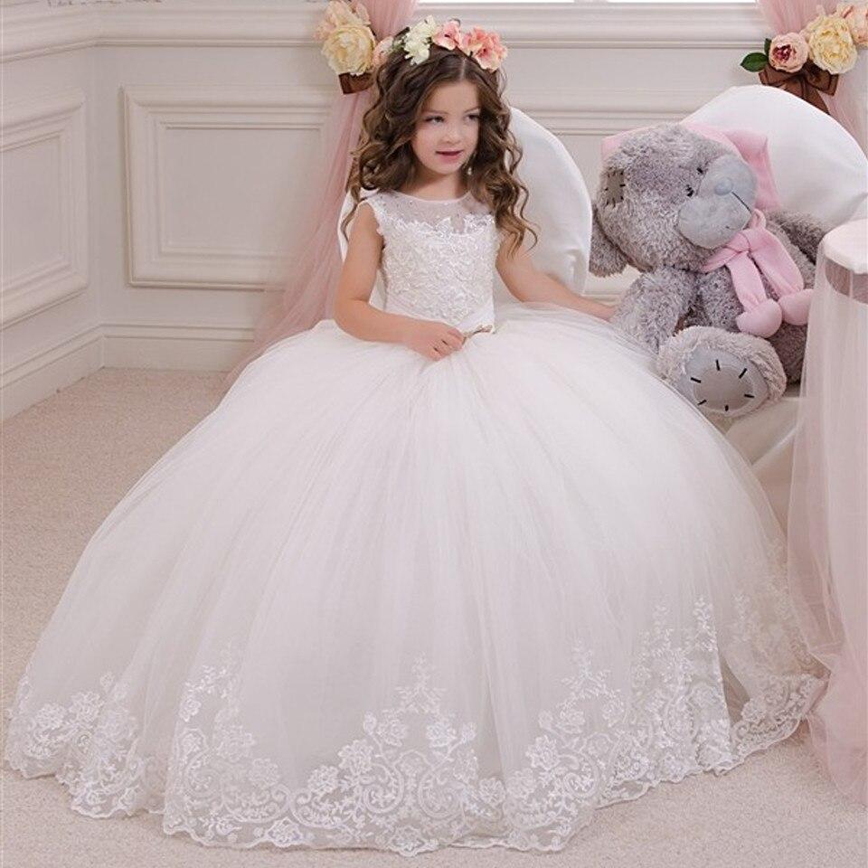 все цены на White Communion Dresses Ball Gown Lace Beading Solid O-neck Flower Girl Dresses Vestido De Daminha 2019 New Arrival онлайн