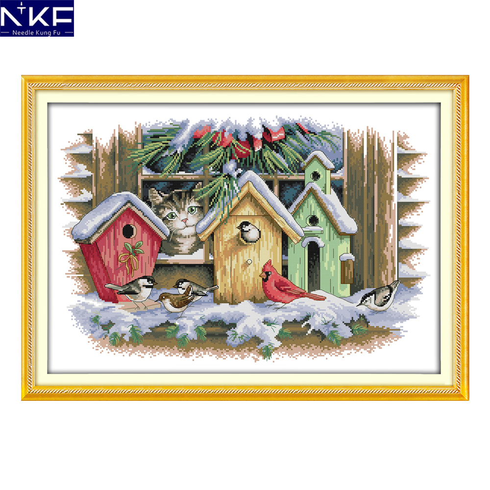 NKF Bird House Stamped Cross Stitch Pattern 11CT14CT DIY Kits Needlework Embroidery Chinese Cross Stitch Sets for Home Decor|cross stitch set|set for embroidery|stitching kit cross stitch - title=