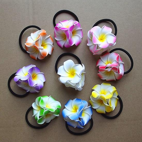 HappyKiss Wholesale Flowe Foam Flower Elastic Hawaiian Vacation Necessary PE Frangipani Hair Band