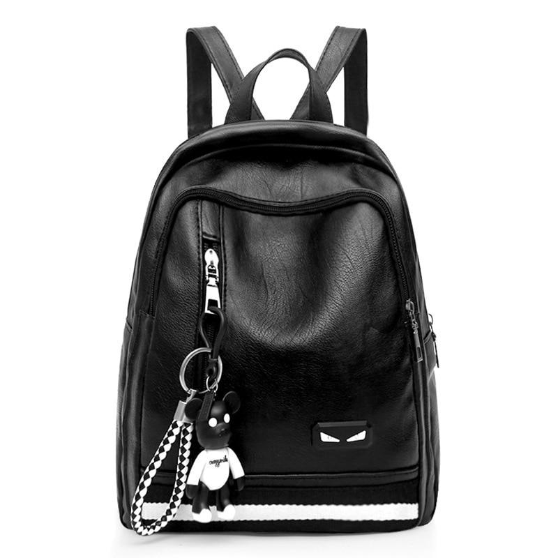 Backpack Female Bag Korean-Version College Ladies Bear-Ornaments Wild Wind Leisure of