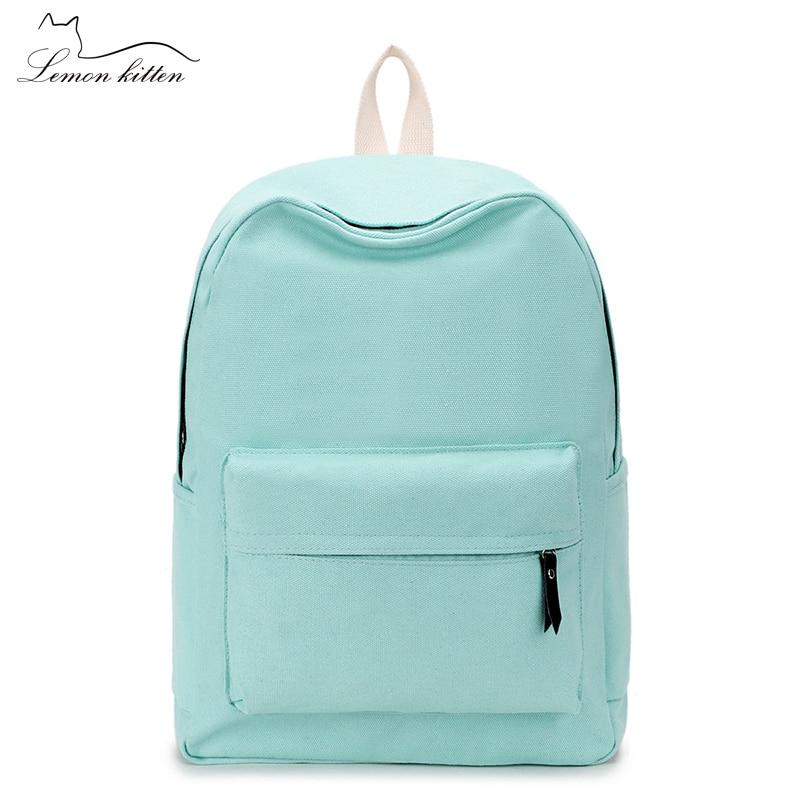 Lona estilo minimalista sólido japonés mochila para chica adolescente mujer nuevo viaje ocio mujeres mochila bandolera