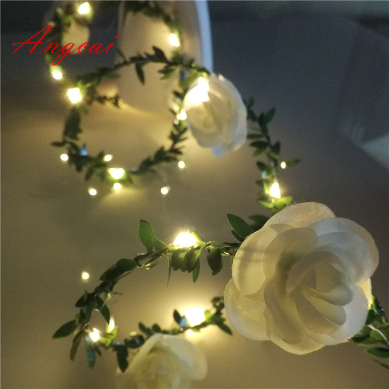 LED Leaf Rose Flower Garland Battery Silver Copper Fairy String Lights For Christmas Wedding Rustic Decor Party Event 1m 2m 4 5m
