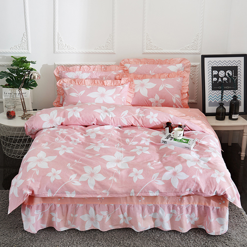 Demissir Cotton Floral Ruffle Fitted Bed Skirt Duvet Cover