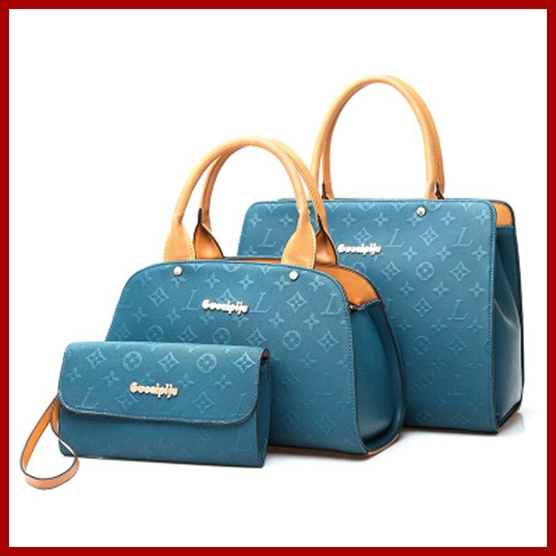 2015 Women Messenger Bags Fashion Shoulder Bag 3 Sets Crossbody Bag High-grade Leather Women Handbags Retro Tote Bolsas NB199 women messenger bags 2015 100% crossbody women bag