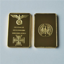 WR Deutsche Reichsbank 24K Gold Plated Bullion Bar German Eagle Collectible Commemorative Coin, free delivery 20pcs/lot