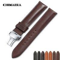 France Calf Leather 16mm 18mm 19mm 20mm 22mm 24mm Leather Strap Men Women Bracelet Butterfly Deployment Buckle Watch Band