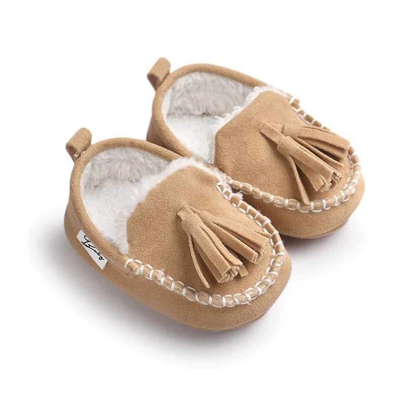 Wonbo Winter PU Suede Leather Infant Toddler Newborn Baby First Walkers Fashion Solid Super Keep Warm Casual Shoes Loafers