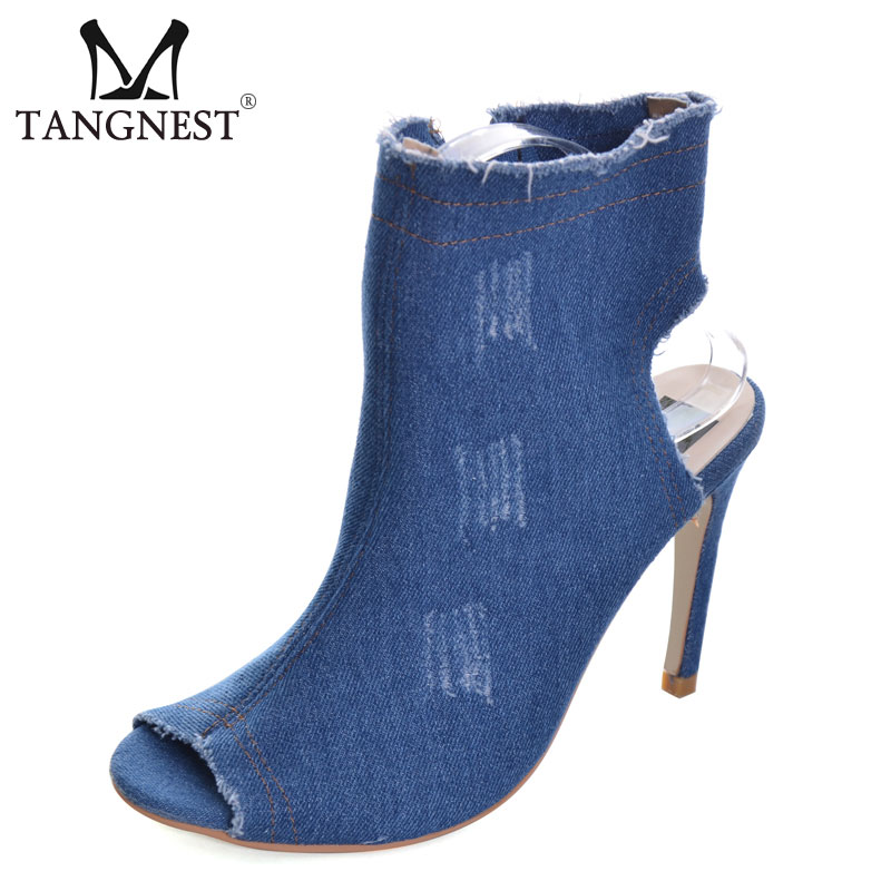 Tangnest NEW Summer Denim Ankle Boots Women Fashion Peep Toe Zip Boots Sexy Thin High Heels Shoes For Woman Size 36~40 XWX6348 facndinll new sexy thin high heels peep toe women summer boots red dancing shoes woman summer autumn patent leather riding boots