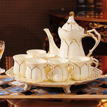 Top-grade coffee cup set Ceramic gold rim Bone China Porcelain tea Teatime Afternoon teapot Coffee Cup wedding Gift