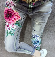 Hot 3D Flowers Style Nail Bead Women Denim Jeans Boyfriend Pencil Pants Embroidery Embroidered Flares Lady