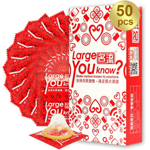 Natural Latex 50 pcs Lubricate Condoms 55 mm Large Size Big Condones Male Penis Sleeve Intimate Goods Adult Sex Products for Man