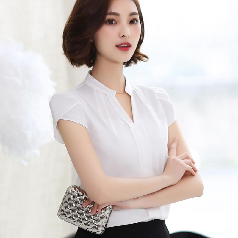 Manga Moda De V En Blusas Pink white Ropa Cuello 58g Gasa red 25 Oficina Corta Lday Verano Camisa Mujeres Las E1EFBfqW
