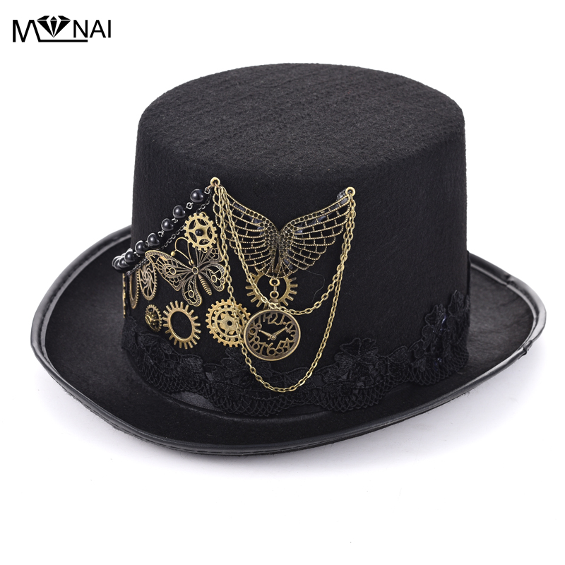 5c1d5ad1ebf Detail Feedback Questions about Retro Steampunk Top Hat Gothic Wool  Victorian Hats With Gears Lace Wing Chain Accessories Mexican hat Handmade  Cosplay ...