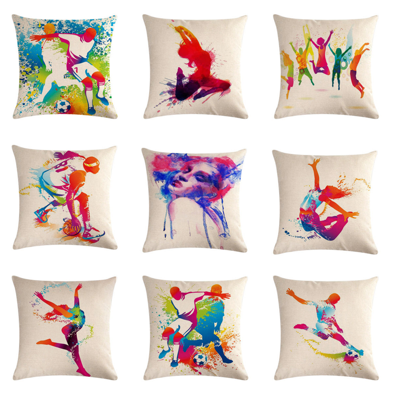 2019 Colorful Characters Splash Ink Series Cushion Cover Cotton Linen Butterfly Home Decorative Pillows Cover for Sofa Cojines in Cushion Cover from Home Garden