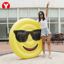 160 Giant Inflatable Emoji Pool Float Swimming Ring Water Toy Glasses for Women Air Mattress