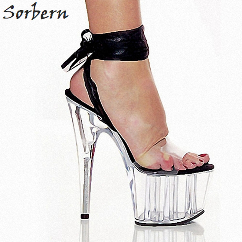 Sorbern Sweet Ankle Wrapped Sandals For Women Transparent High Heels Clear Plastic Thick Platform Shoes Ladies 15Cm Spike Heels sweet high heels sandals beautiful