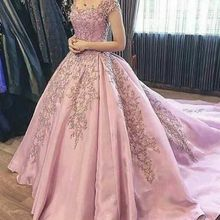 HVVLF Pink Muslim Wedding Dresses Ball Gown Cap Sleeves