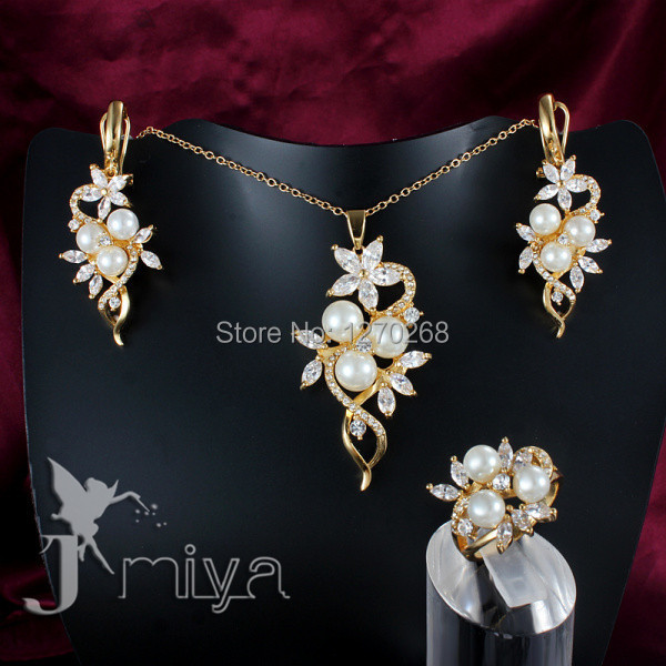 Fashion Jewelry Set gold color crystal pearl necklace ring earring for woman pretty cute wedding gift