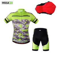 WOSAWE Pro Cycling Clothes Set Camouflage Sports T Shirts + 3D Gel Shorts Breathable Quick Dry MTB Bike Bicycle Jerseys Tops