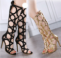 Women Pumps 2016 Brand Sexy Cut Outs Lace Up 11cm High Heels Party Woman Shoes Gold Black Plus Size 35-40