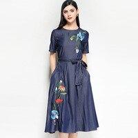 Платье с вышивкой модные платье 2018 Denim Для женщин Элегантный Винтаж женские длинные Вечеринка клуб Boho Украина осенне летние платья