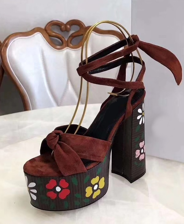 Thick Platform 14 cm High Heel Sandals Women Sexy Ankle Strap Open Toe Real Leather Five Pointed Star Sandalias De Muje