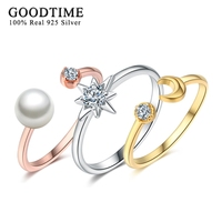 GoodTime 3 Colors Solid 925 Silver Ring Set Fine Jewelry For Women 100 Real 925 Sterling