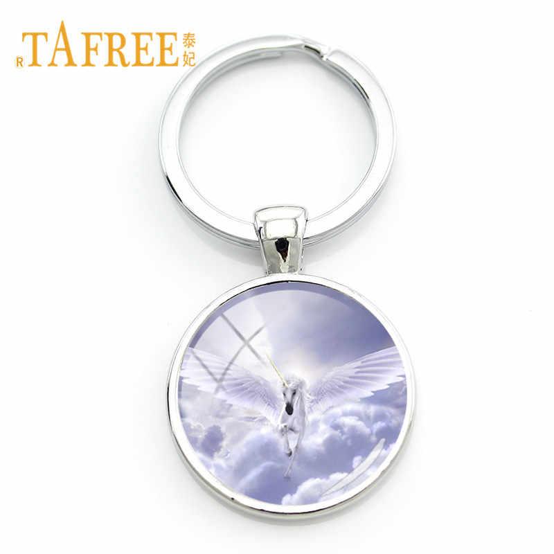 Tafree الأبيض يونيكورن أبواق الحصان قلادة مفتاح سلسلة المفاتيح الجواهر زجاج قبة بيضاء أقراط فضية اللون مجوهرات معدنية هدية UN05
