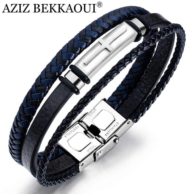AZIZ BEKKAOUI Fashion Multi-layer Handmade Genuine Leather Bracelet For Men Jewelry Wrap Charm Cross Bracelets Fine Jewelry Gift