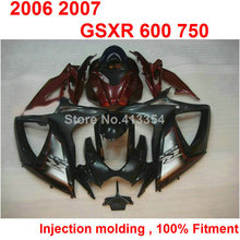 Motorcycle free customize fairings for Suzuki GSXR600 2006 2007 wine red black injection fairing kit GSXR 600 750 06 07 TN03