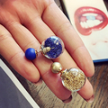 Hot 1 Pair Women Girl Lady Fashion Trendy Charming 7 Colors Thick Glass Beads Double Ball Stud Earrings Gift